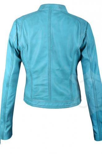 Women Slimfit Sky Blue Biker Leather Jacket