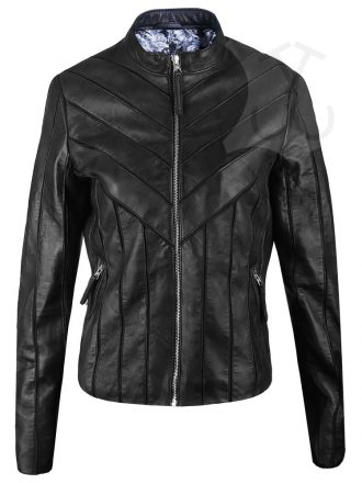 Women V-Style Biker Leather Jacket