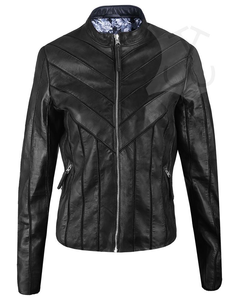 Women V-Style Biker Leather Jacket