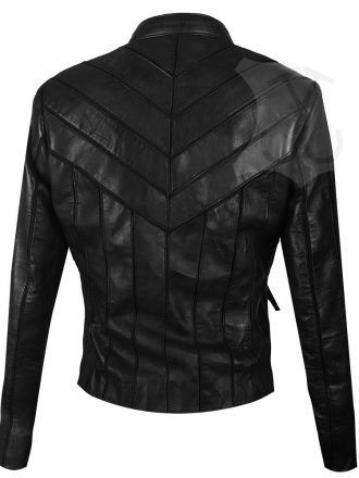 Women V-Style Black Biker Leather Jacket