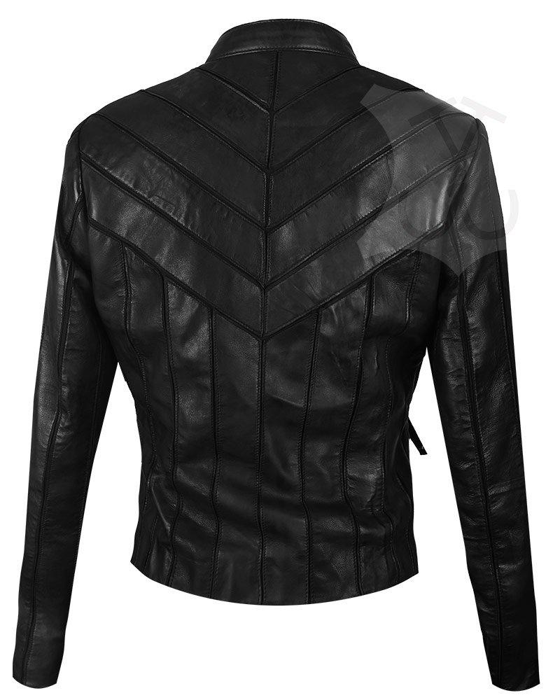 Women V-Style Black Biker Leather Jacket