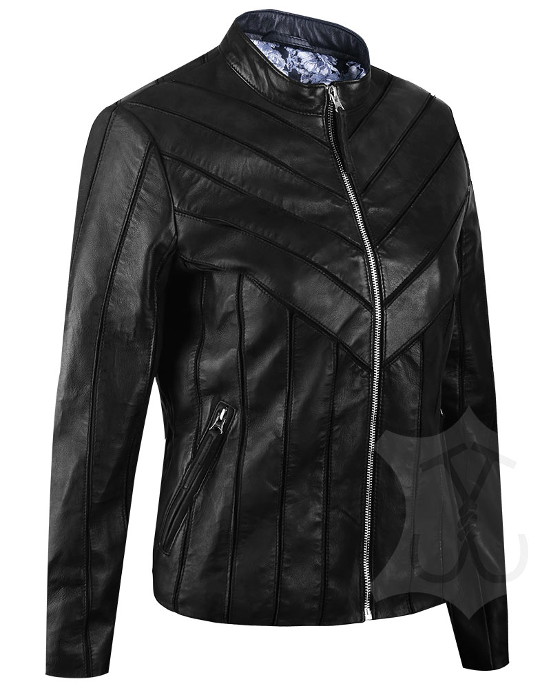 Women V-Style Black Leather Jacket