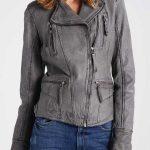 Womens Grey Biker Leather Jacket
