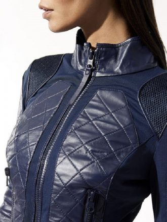 Womens Navy Blue Quilted Motor Biker Leather Jacket