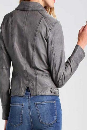 Womens Style Grey Motorcycle Leather Jacket