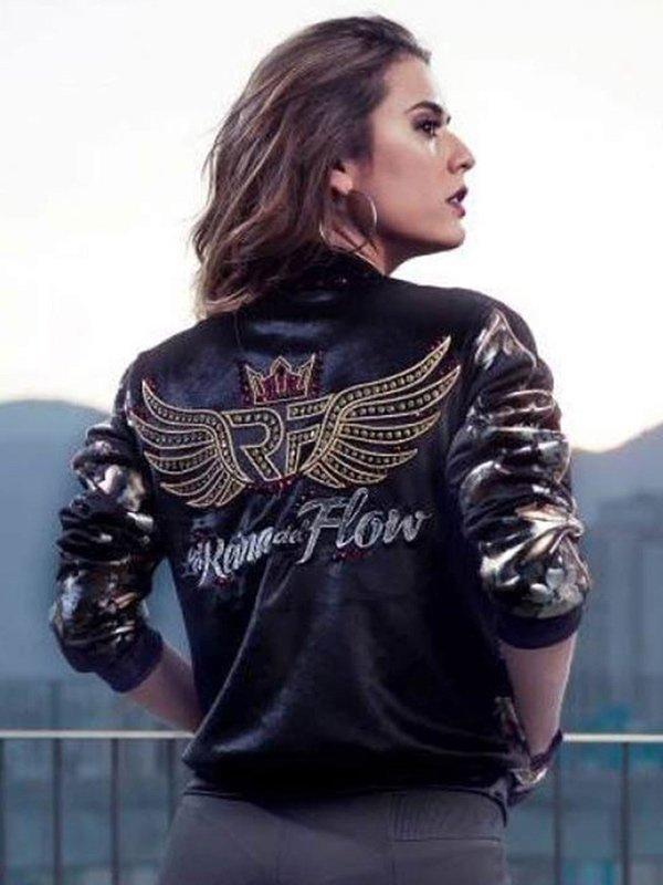 Yeimi Montoya The Queen of Flow Black Bomber Jacket