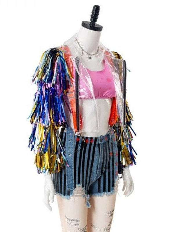 Birds Of Prey Harley Quinn Jacket With Caution Tape Wings