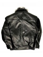 Alligator trimming & Black Lambskin Leather Jacket With Chinchilla Collar