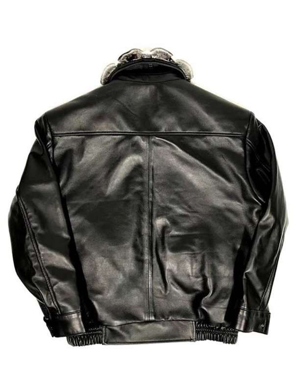 Alligator trimming & Black Lambskin Leather Jacket With Chinchilla Collar