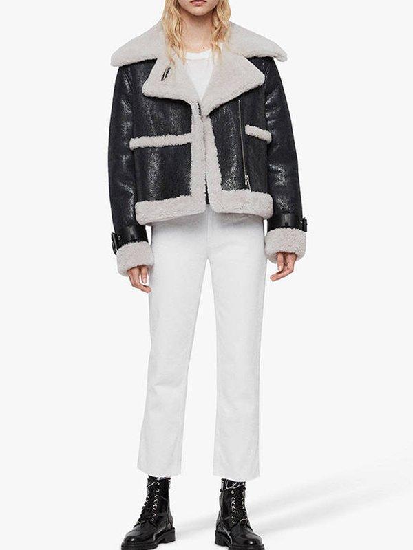Arlo Asymmetric Black Shearling Leather Jacket For Women's