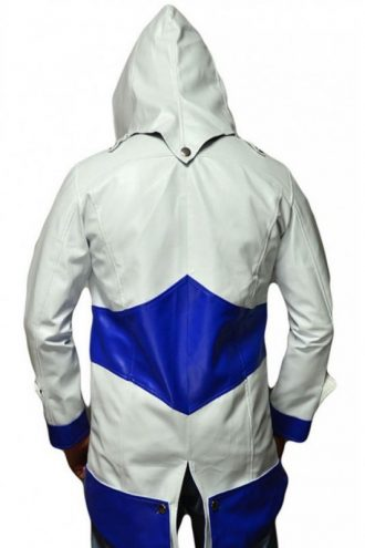 Assassins Creed Connor Kenway Blue & White Leather Jacket With Hood
