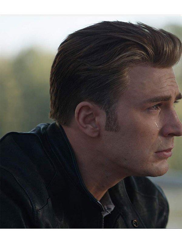 Avengers Endgame Chris Evans Black Biker Jacket