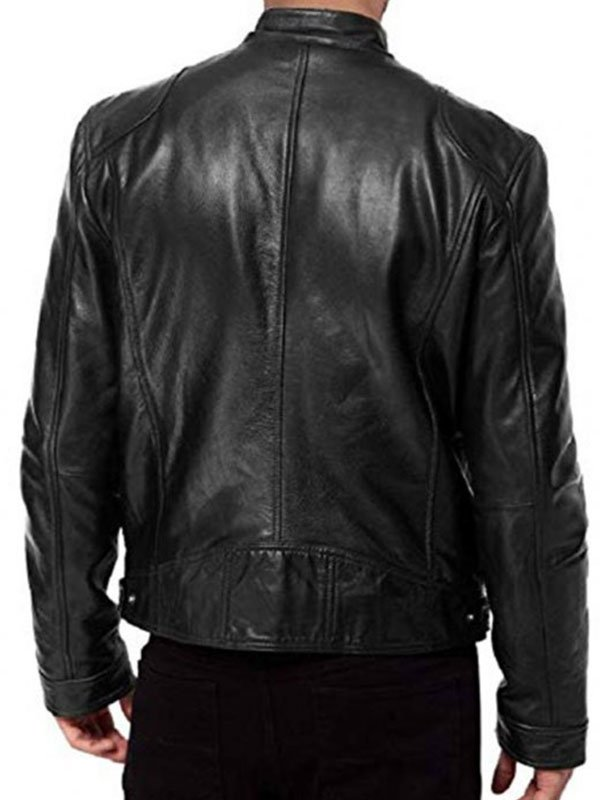 Avengers Endgame Chris Evans Black Leather Biker Jacket