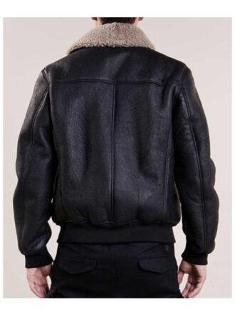 Aviator Black Leather Bomber Jacket For Mens