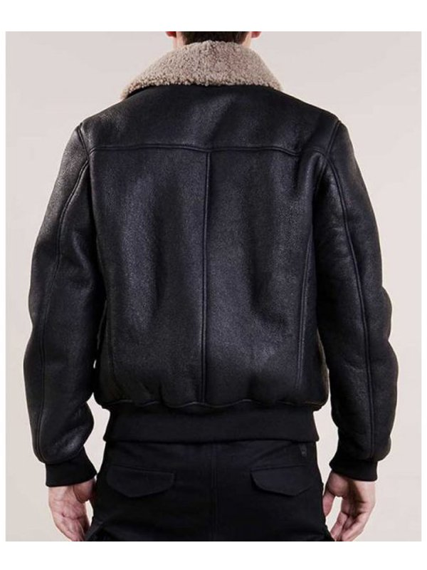 Aviator Black Leather Bomber Jacket For Mens