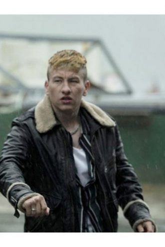 Barry Keoghan Calm with Horses Black Leather Jacket With Fur Collar