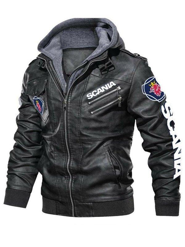 Black Hooded Halloween Leather Jacket For Men