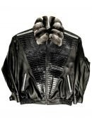 Black Lambskin Leather Jacket With Chinchilla Collar