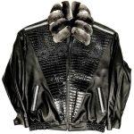 Black Lambskin Leather Jacket With Chinchilla Collar