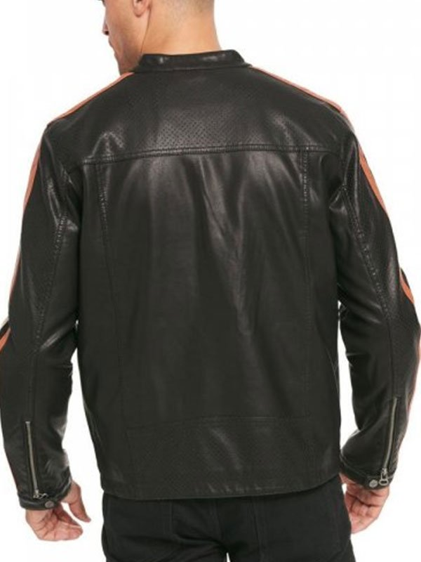 Black Leather Biker Jacket For Mens With Red & White Stripes