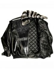 Black Leather Jacket With Chinchilla Collar