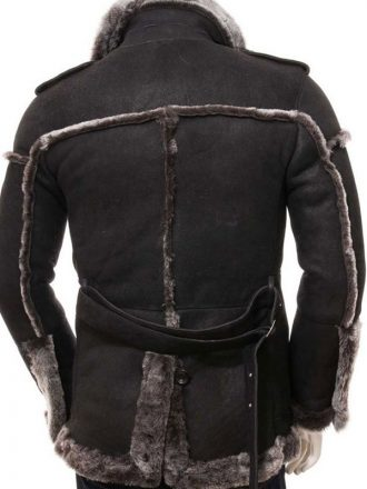 Black Leather Shearling Coat For Mens