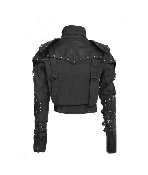 Black Studded Military Cotton Cropped Jacket For Womens