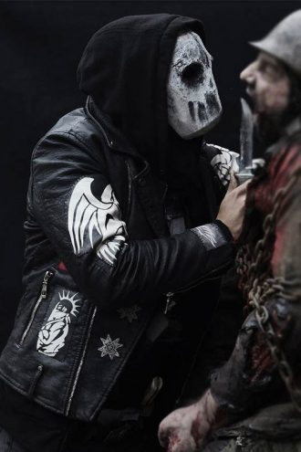 Blood Quantum Kiowa Gordon Black Leather Biker Jacket With Patches