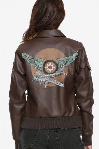 Brie Larson Captain Marvel Air Force Brown Bomber Leather Jacket