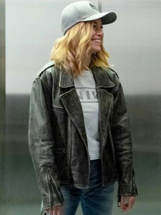 Brie Larson Captain Marvel Black Leather Motorcylcle Jacket