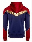 Brie Larson Captain Marvel Red and Blue Cotton Hoodie