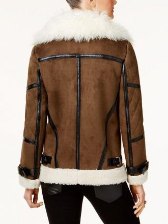 Brown Shearling Asymmetrical Leather Jacket For Women's