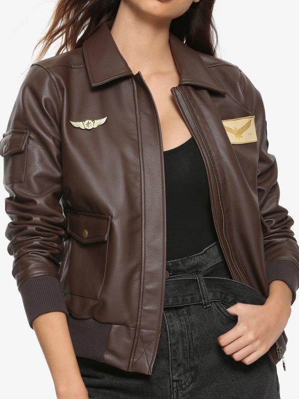 Carol Danvers Captain Marvel Brown Leather Jacket