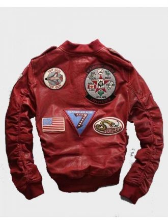 Carrier Air Wing Red Leather Bomber Jacket for Mens