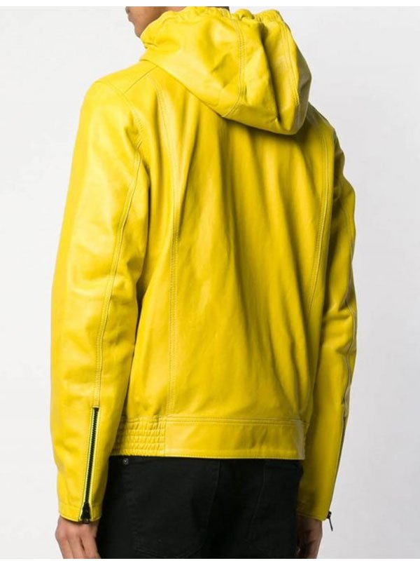 Casual Style Yellow Hooded Leather Jacket For Mens