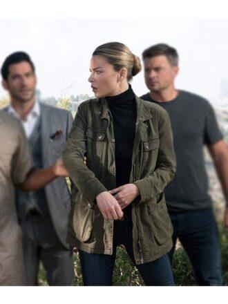 Chloe Decker Lucifer Military Green Jacket