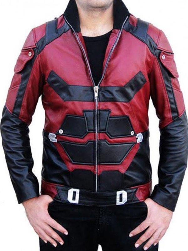 Daredevil Matt Murdock Charlie Cox Red Leather Jacket