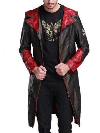 Devil May Cry Dante Black Leather Hooded Coat