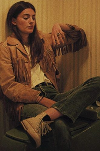 Diana Silvers Booksmart Brown Fringe Suede Leather Jacket