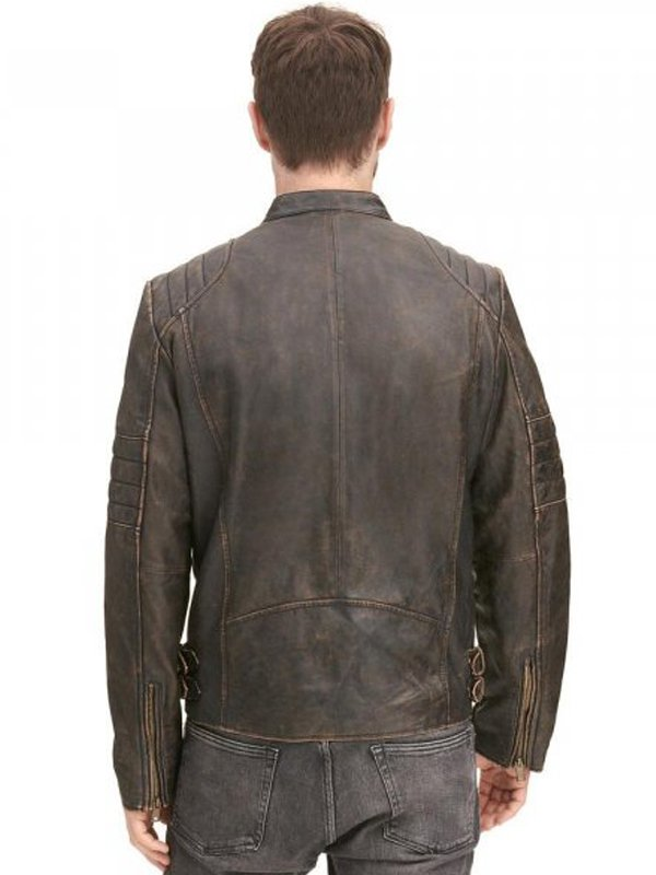 Distressed Brown Biker Leather Jacket For Mens