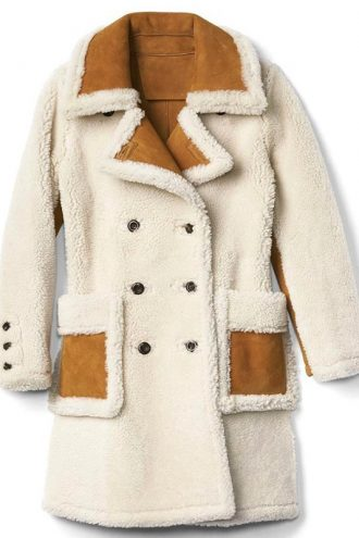 Double Breasted Shearling Coat For Womens
