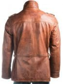 Double Collared Tan Leather Coat For Men's