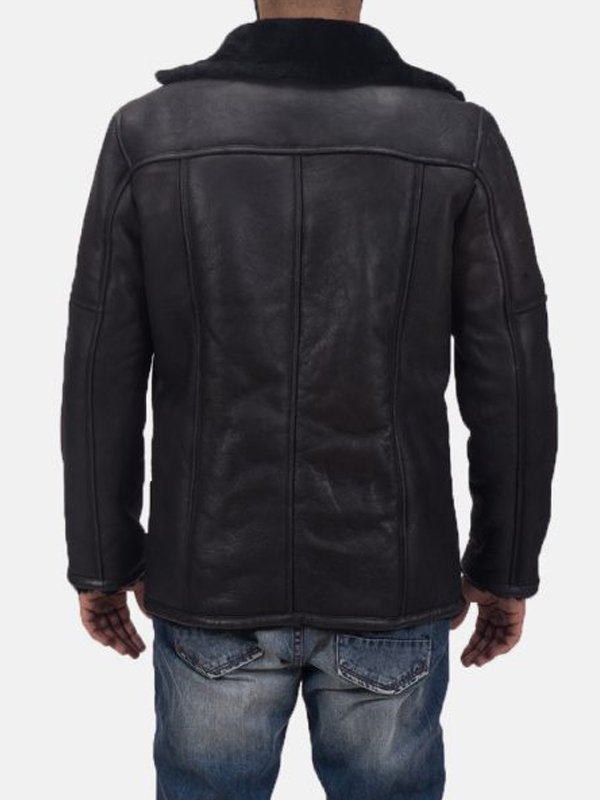 Furcliff Double Face Black Shearling Leather Coat for Mens