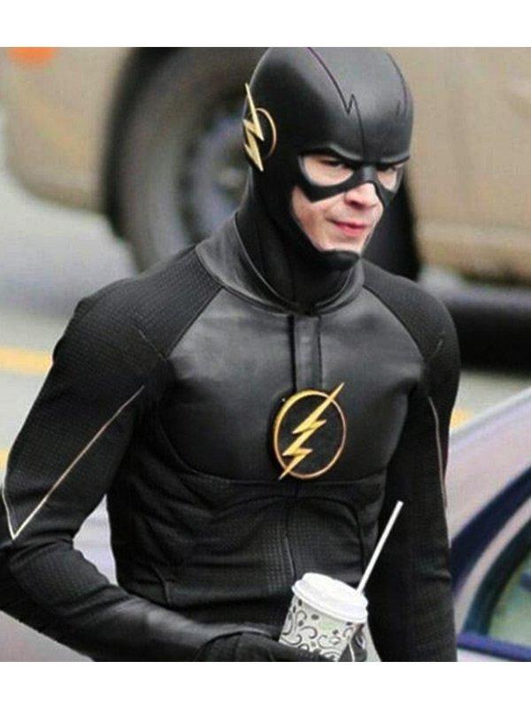 Grant Gustin The Flash Black Leather Jacket