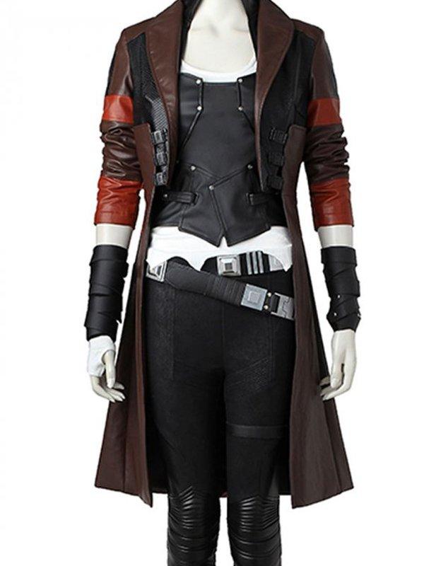 Guardians of the Galaxy 2 Zoe Saldana Brown Leather Jacket