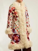 Hannah Floral Embroidered Shearling Coat Foe Women's