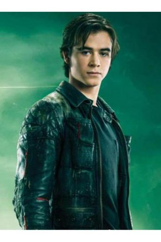 Keean Johnson Alita Battle Angle Black Leather Biker Jacket