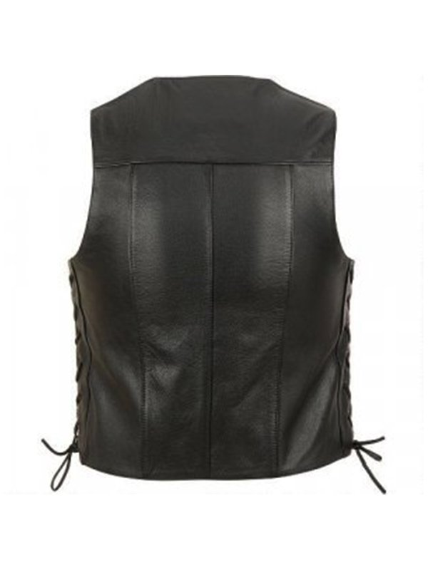 Lace Up Black Leather Motorcycle Vest For Mens