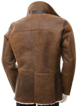 Men Tan Sheepskin Leather Double Breasted Shearling Peacoat