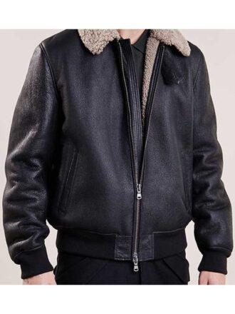 Mens Black Aviator Bomber Leather Jacket